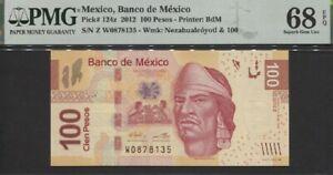 TT PK 124z 2012 MEXICO BANCO 100 PESOS PMG 68 EPQ SUPERB GEM UNC ONLY TWO FINER!