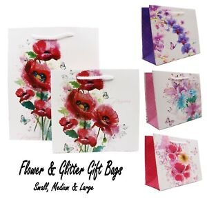 Flower Gift Bags, High Quality (12 Pack) - Mothers day bag, Birthdays & More