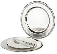 Set of 6 Stainless Steel Charger Plates with swirl