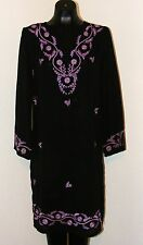 Black with Purple Floral Embroidery Sheer dress