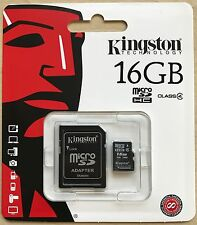 Kingston 16GB Micro SD SDHC Memory Card & Adapter For Samsung J1 Ace J2 J3 J5 J7