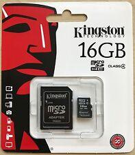 KINGSTON 16GB Micro SD SDHC Scheda di Memoria & Adattatore per Samsung Ace J1 J2 J3 J5 J7