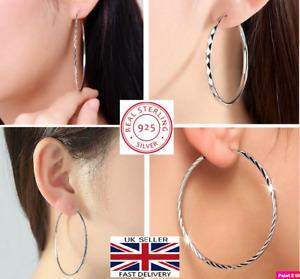 New Solid 925 Sterling Silver 30mm-60mm Big Hoop Sleeper Women Earrings Pair UK