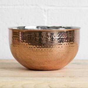 4L Copper Rose Gold Fruit Bowl Large Bread Basket Storage Mixing Home Decor Dish