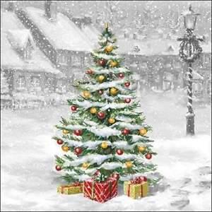 4 individual Christmas Tree decoupage napkins, scrapbooking, mixed media, craft