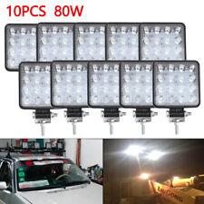 10PCS 80W CREE FLOOD LED Work Lights 12V 24V Boat Camping Square 4inch Bar
