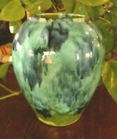 "Vintage Vase Brush Mccoy Pottery ? Art Blue Green Glaze Drip Onyx 6.5"" tall"