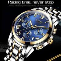 Lige Brand Men Luxury Wrist Watch Stainless Steel Analog Date Sport Waterproof