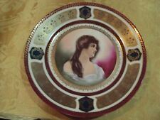 PORTRAIT PLATE SCHWARZBURG  BEAUTIFULL LADY SIGNED 9 5/8'' LOTS OF GOLD NO CHIPS