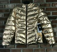 Spyder Women's Sz XL Metallic hooded Puffer Jacket Coat Rose Gold MSRP $199++