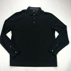 Jos A Bank Polo Shirt Mens XL Black Solid Long Sleeve  NEW