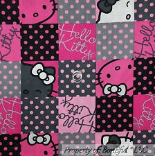 BonEful Fabric FQ Cotton Quilt Pink Black White B&W HELLO KITTY Polka Dot Lg Bow