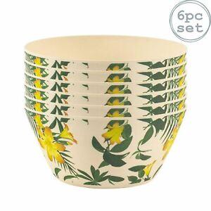 6pc Eco-Friendly Bamboo Bowls Set Picnic Breakfast Dessert Bowl 14.5cm Tropical