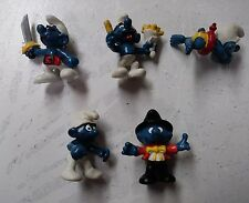 Lot of 5 Vintage Smurf Figures Schleich Peyo 1979 to 1981