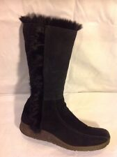 Dune Black Mid Calf Suede Boots Size 36