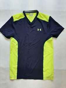 UNDER ARMOUR MED MEN'S SHIRT FITTED HEATGEAR BLUE & NEON YELLOW S/S #1