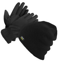 Men's Winter Hat & Gloves Set Warm Fleece Lined Thick Beanie With Fur Gloves