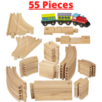 Wooden Train Track Lot Railway Set Thomas The Train Brio 55-Piece  Accessories