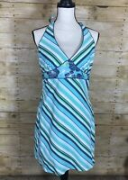Mossimo Target Reversible Halter Dress Blue Green Hawaiian Floral Stripe Large