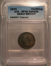 1829 Great Britain UK Farthing - ICG Certified EF40 XF40 Details coin copper