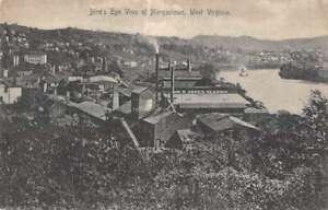 Morgantown West Virginia Factories Birds Eye View Vintage Postcard AA19618