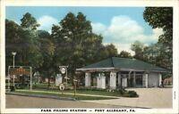 Port Allegany PA Parking Gas Filling Station c1920s Postcard