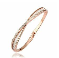 Rose gold finish Crossover created diamond bangle