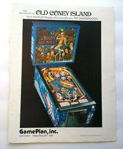 Game Plan Coney Island Pinball Trade AD 1978 Original Game Artwork Retro