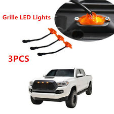 3PC For Fit 2016-2018 Toyota Tacoma AMBER Front Hood Mesh Grille LED Lights NEW