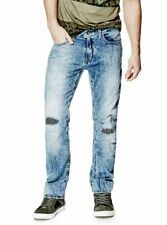 Guess new men's Slim Straight Distressed Patches Jeans SZ 33 Blue
