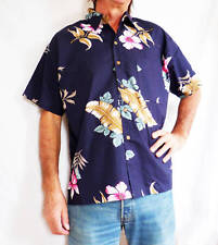 "LOUD Hawaiian shirt, dark blue / Hibiscus flowers, XL, 54"" STAG NIGHT PARTY NEW"