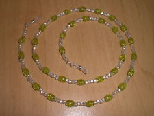 Lime Green Crackle & Silver Matte Eyeglass Chain