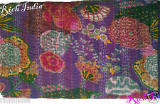 Purple Color KANTHA QUILT FLORAL COTTON BEDSPREAD BLANKET THROW COVERLET Flowers