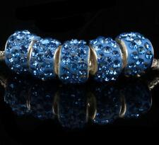 5PCS Wholesale Light blue Beads Necklace European charm Bracelet Chain N#736