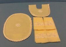 Dollhouse mini1;12 Handcrafted set 6 yellow silk ribbon bow bath towels & rugs
