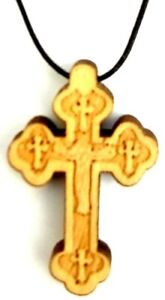 WOODEN CHRISTIAN CROSS Lightweight Necklace With Adjustable Black Cord