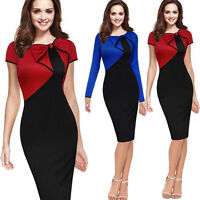 Sexy Women Bow Bodycon Casual Midi Pencil Dress Short Sleeve Evening Cocktail