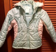 Girls Jacket Blue/white Zip Up With Hood..and Fleece Lined size L-6x...Izzi Kids