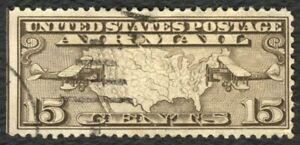 #C8 15c U.S. Map and Planes, Used [1-Creased] **ANY 4=FREE SHIPPING**