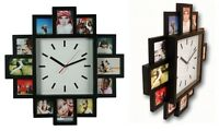 Modern 12 Multi Picture Aperture Photo Picture Frame Wall Clock Pictures Black