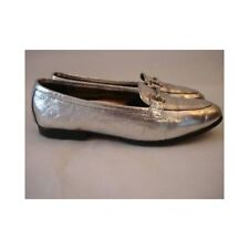 Vintage 1960s Ladies Loafers - Silver Shiny Leather Flats - Slip on Loafers