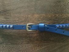 VINTAGE BLUE LEATHER STUDDED PUNK ROCK NEW WAVE VERY NARROW MENS BELT