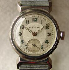 MEN'S steel MOVADO collection MILITARY WRISTWATCH WWII ERA good condition.