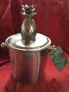 NEW NWT FLAWLESS Exquisite TOMMY BAHAMA Silver PINEAPPLE ICE WINE BOTTLE BUCKET