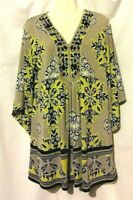 WOMEN'S ALFANI MULTICOLOR EMBELLISHED EXTRA LONG STRETCHY TUNIC TOP SIZE L