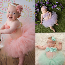 Baby Toddler Girl Clothes+Flower Hairband+Tutu Skirt Photo Prop Costume Outfits
