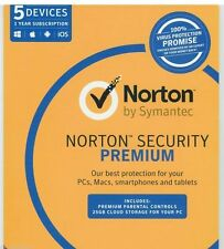 Norton Internet Security Premium 2017 Antivirus 5 Users 1 Year PC MAC Symantec