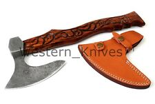 DAMASCUS Steel BLADE FUNCTIONAL MINI TOMAHAWK/AXE ROSE WOOD HANDLE