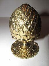 "Lg Solid Brass Pinecone Artichoke Drawer Pull Knob Newel Post 3""+ Back Plate"