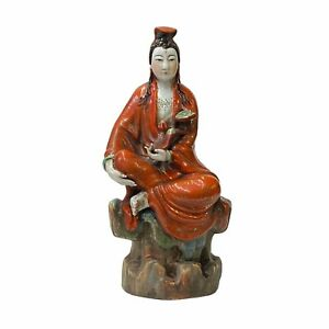 Small Vintage Finish Orange Off White Color Porcelain Kwan Yin Statue ws1584